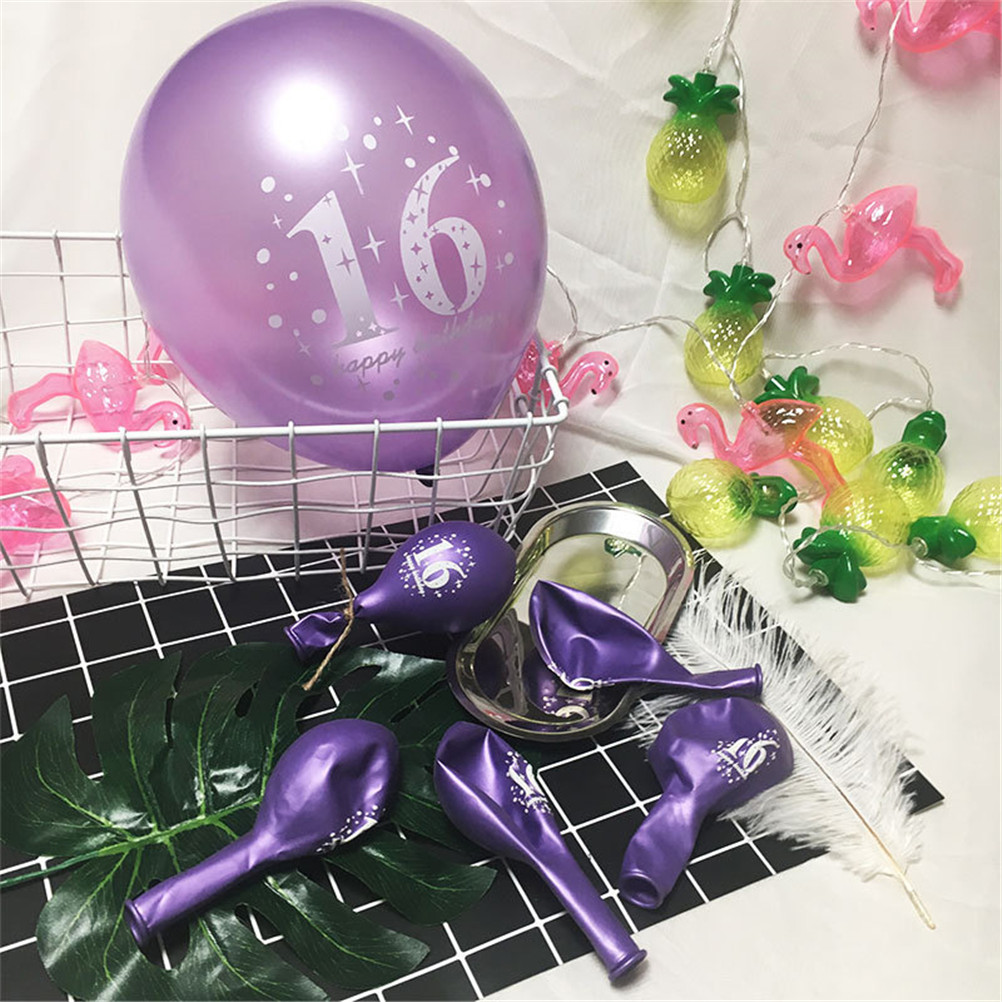 Detail Feedback Questions About Purple Pink Gold Balloons Pearl Color Latex 16th Birthday Decorations Party Ballon Decoration On Aliexpress
