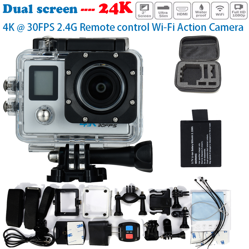 Add Camera Bag + Battery 24K Action Camera Dual Screen 4K Ultra HD 16MP WIFI Extre Sports Camara Go 30M Waterproof pro Cam Style
