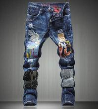 Новый Тяжелая Блестки Джинсы для Мужчин Моды Лоскутное Вырез Брюки