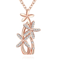 Enchanted Solid Flower Design Beautiful Plant Thin Chain Plating Rose Gold Pendant Necklace
