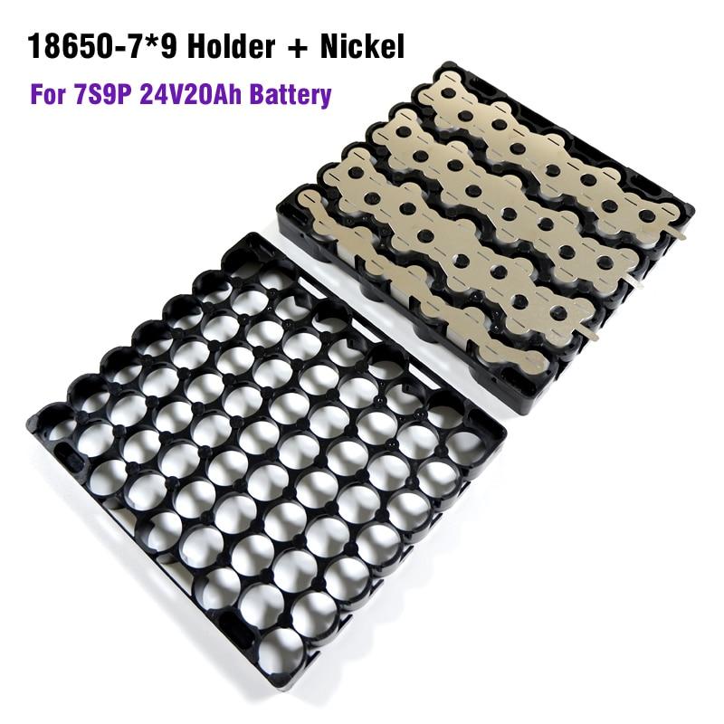 18650 7S9P Battery Holder And Nickel 7*9 Plastic Holder 9P7S Battery Holder+Nickel Strip For 18650 Cell 7S 9P 24V 20Ah Battery
