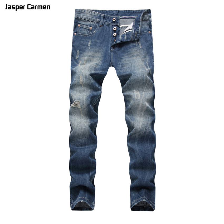 Men 's Jeans Cave Light Blue Straight Men' s Cowboy Long Pants Big Size 45h men