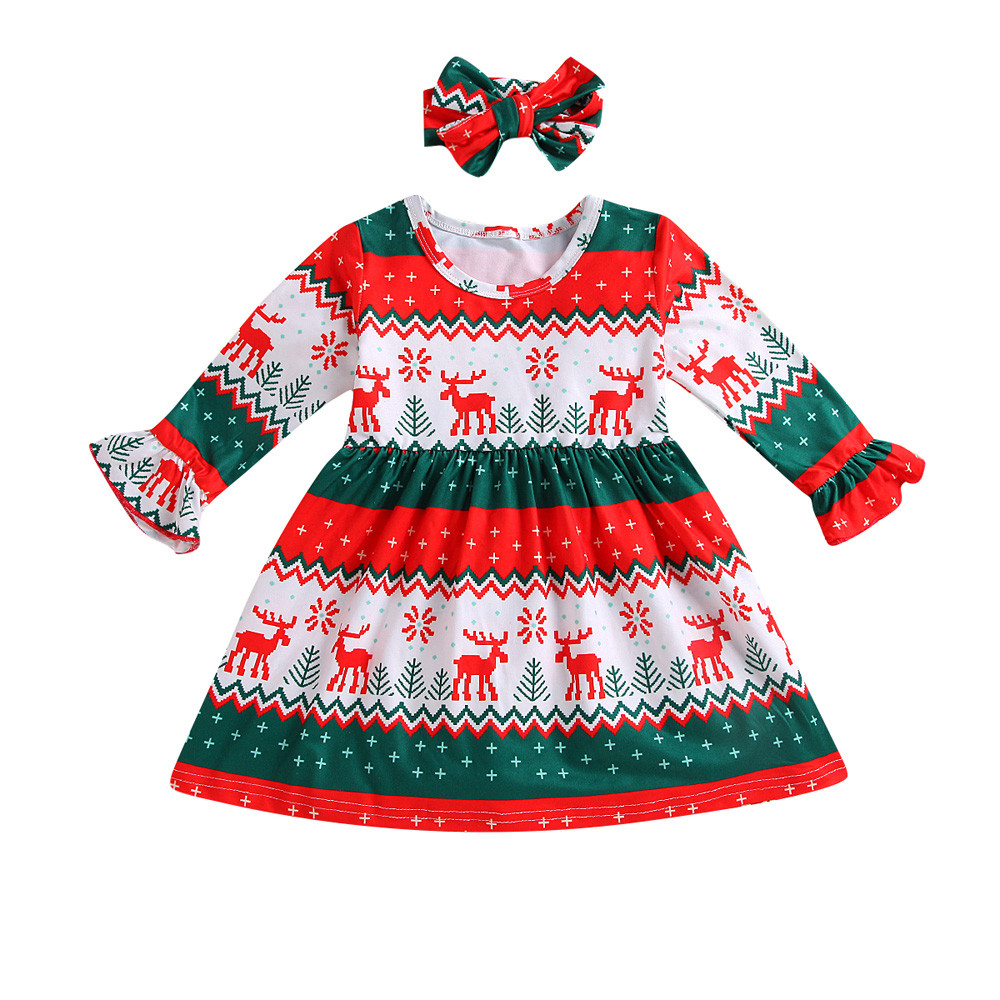 Cute Toddler Baby Dresses Girls Deer Striped Princess Dress Outfits Clothes Gift
