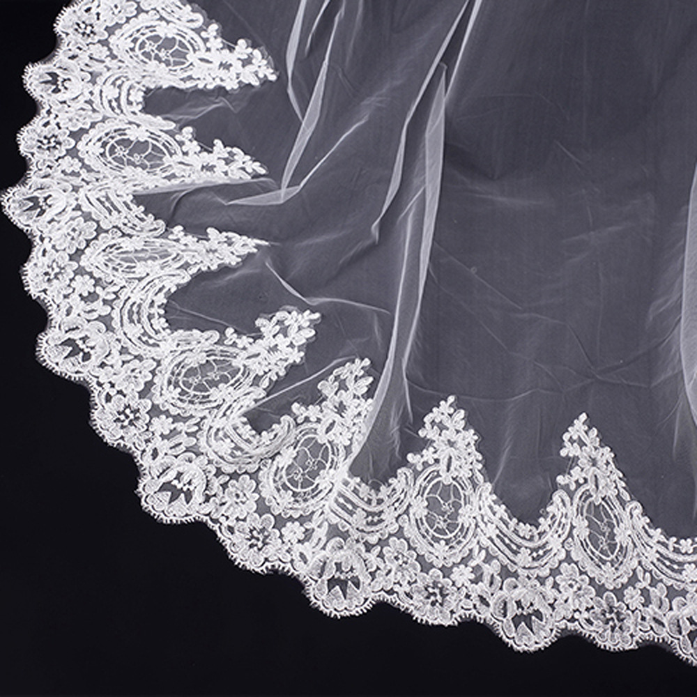 2019 Elegant Women Wedding Lace Veil 3 Meter Long Cathedral With Comb One Layer Tull Appliques Bridal Veils In Stocks