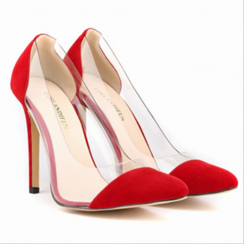 11 Colors Sexy Pointed Toe High Heels Nightclub Shoes Woman New Style Fashion Transparent Shoes Plus Size Pumps Zapatos Mujer