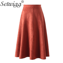 SETWIGG Autumn Suede Solid Flared Midi Skirts High Waisted Zipper Elegant Winter A-line Skater Knee Length Skirts SG1366