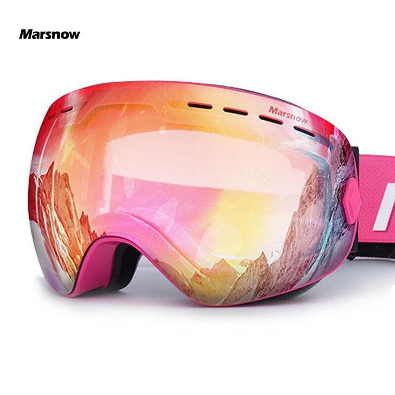 Marsnow lunettes de Ski Double UV400 Anti-buée lentille de Ski masque lunettes Ski hommes femmes enfants enfants garçon fille neige Snowboard lunettes