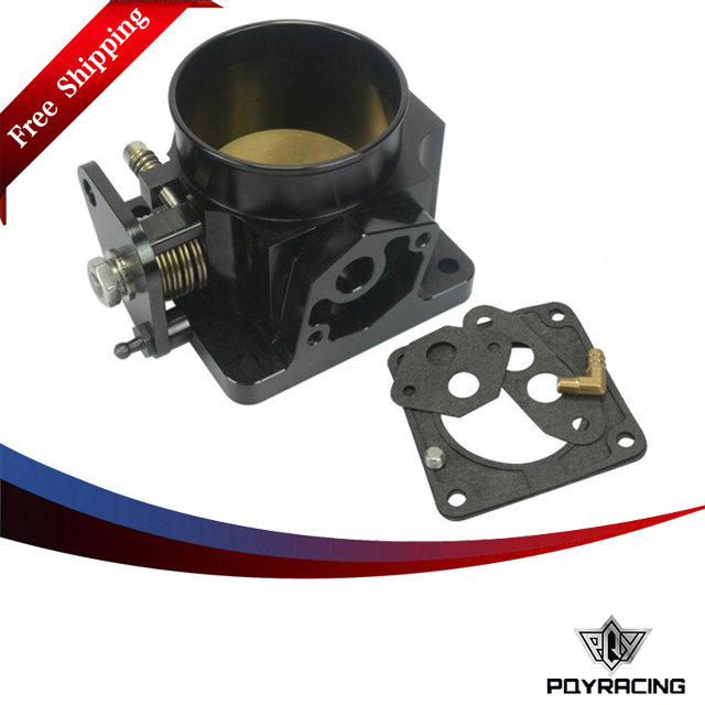 PQY RACING Free shipping- BLACK 75MM BILLET CNC THROTTLE BODY FOR 86- 93 FORD MUSTANG GT COBRA LX 5.0 PQY6958BK vr racing billet aluminum lower control arms fits for ford mustang 2005 2014 vr lca01s