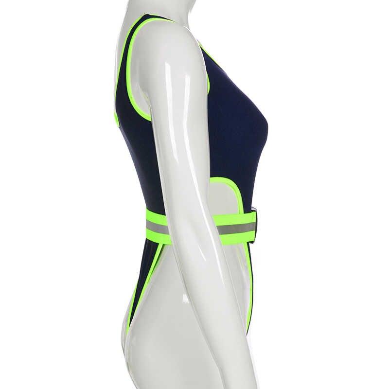 Свитшот синий лоскутный светоотражающий полосатый купальник для бассейна пляжная одежда пояса с пряжкой тела женские модные праздничные боди