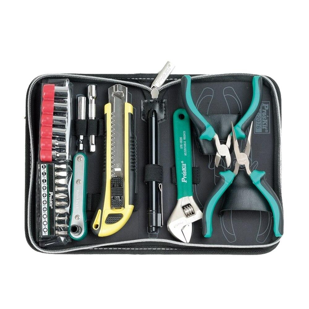 Бесплатная доставка Proskit 2076B набор бытовой ручной инструмент комплект электрика инструмент плоскогубцы ключ отвертка Набор инструментов м... ...