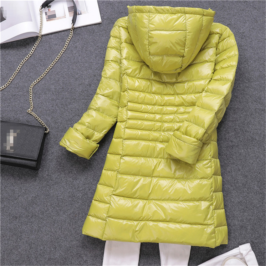 New Winter Slim Women White Duck   Down   Jacket Big Size S-7XL   Down   Jacket Lady Midi Long   Down     Coat   Hooded   Coats   Female Jackets 549