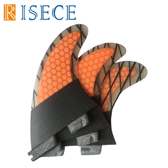 Free shipping orange honeycomb surfboard fin fcs 2 surf fins quilhas fcs2 surfboard fins carbon fiber