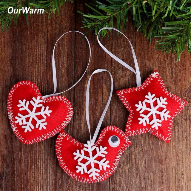ourwarm 3pcs new year christmas tree decorations felt bird heart