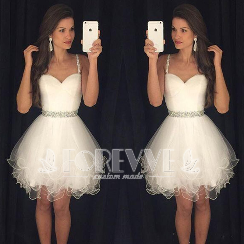 Sexy White Crystal Short   Prom     Dress   2019 Spaghetti Strap Knee-Length Formal   Prom     Dresses   Party Gowns Vestidos De Fiesta Curto