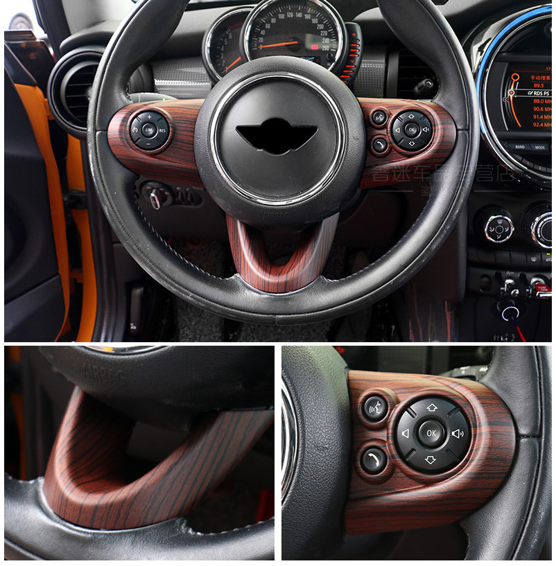 car interior accessories For mini cooper f54 f55 f56 f60 carbon fiber steering wheel center Covers interior parts carking diy abs steering wheel covers stickers for bmw mini cooper red blue multi color