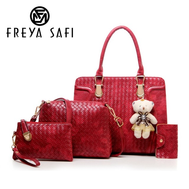Freya Safi Brand Composite Bags Women Shoulder Patchwork Crossbody  Messenger Bag With Bear Doll 4 Pieces PU leather Bag Female 89e6659020617