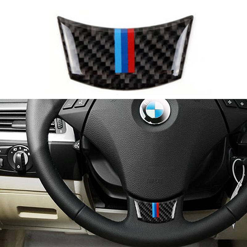 Car <font><b>Interior</b></font> Steering Wheel Decoration Cover Car Sticker <font><b>Carbon</b></font> Fiber Automobile Accessories For <font><b>BMW</b></font> <font><b>E60</b></font> E61 5 Series 2004-2010 image