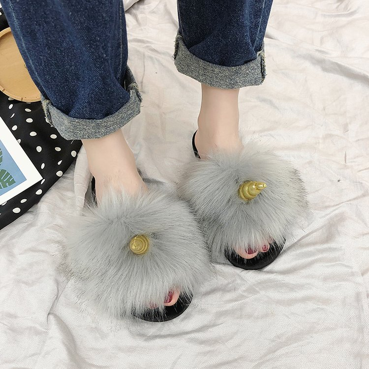 Liren 2019 New Fashion Real Fox Hair Slippers Flip Flops Summer Shoes Beach Slippers Slides Slip on Shoes Furry Slippers