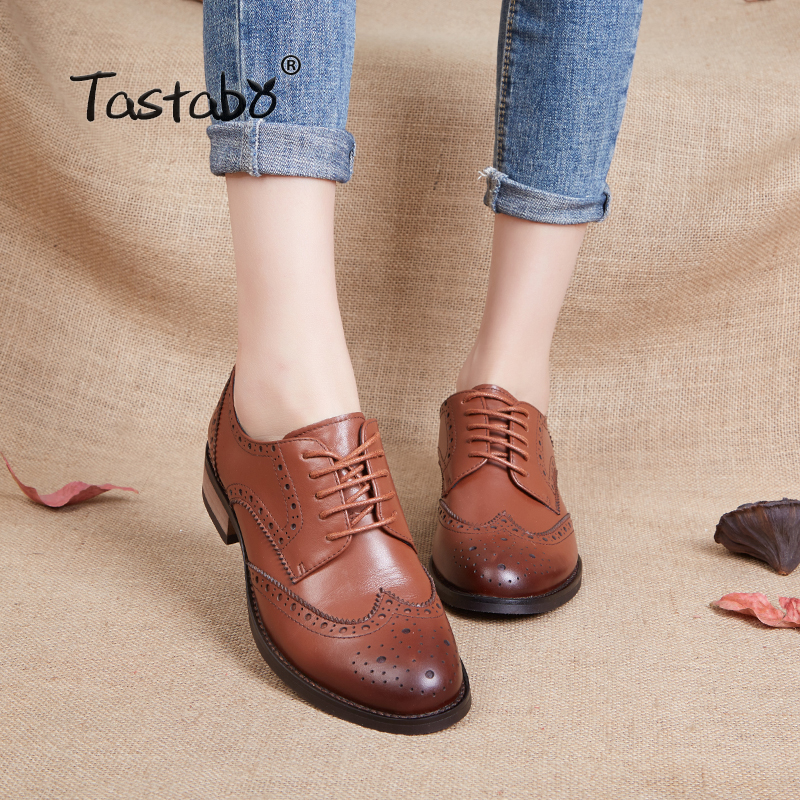 Tastabo Bullock style women s shoes Leather breathable thick heel women s shoes British retro lace