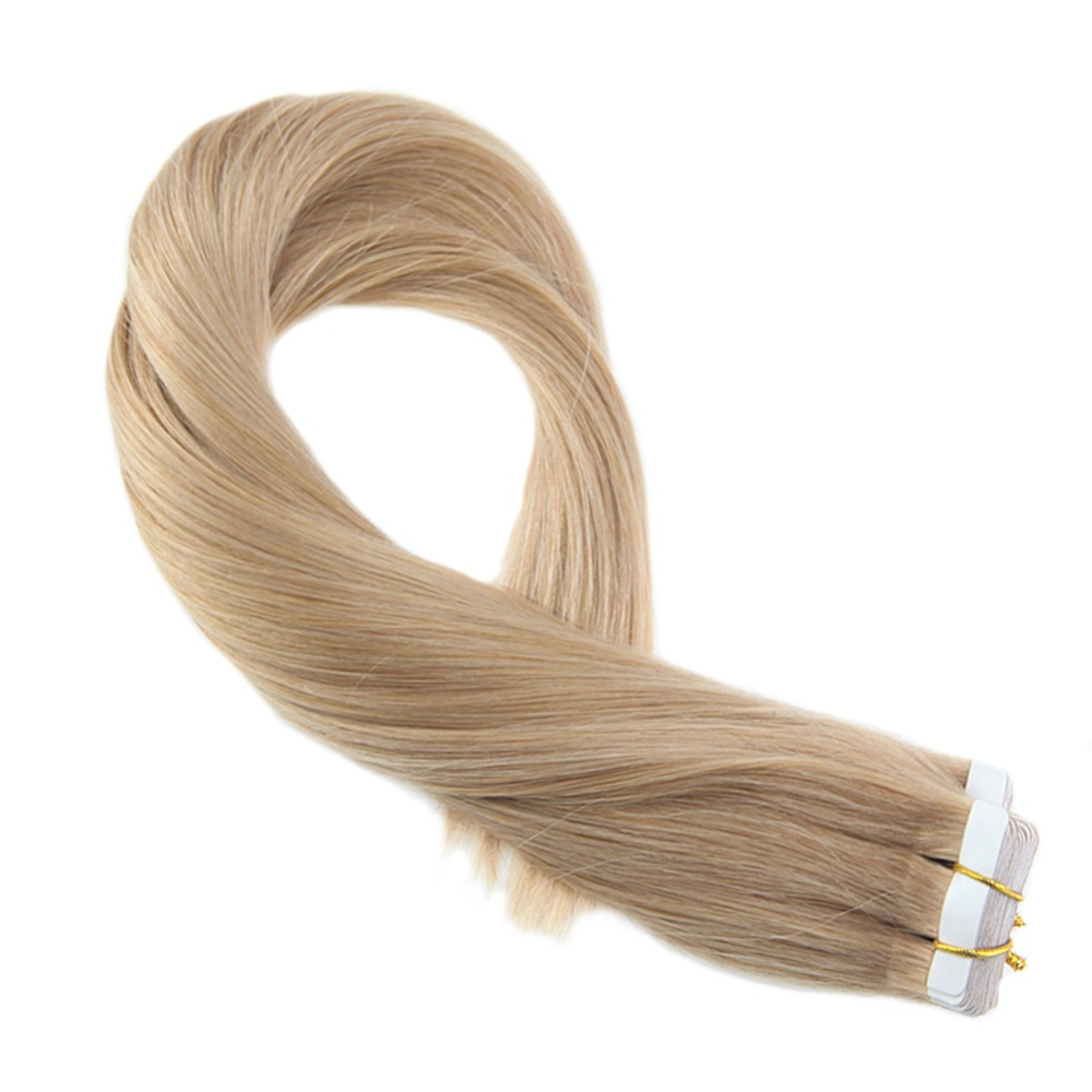 Moresoo Tape In Human Hair Extensions Adhesive Remy Brazilian Hair #27 Strawberry Blonde Hair Color Skin Weft Tape On Hair