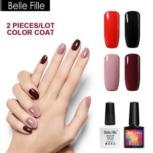 Belle Fille Nude Gel Nail Fingernail Polish Rose Red Wine Varnish for French Manicure Varnish Soak Off Yellow Color Gold UV Gel