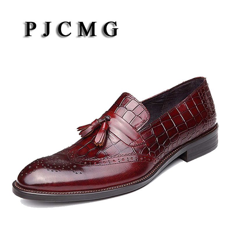 New PJCMG Oxford Black/Red For Men Dress Genuine Leather Office Flats Zapatos  Slip-On Pointed Toe Hombre Mens Oxfords Shoes new brush oxford shoes for men slip on pointed toe fringe oxfords men shoes leather causal formal men dress shoes zapatos hombre