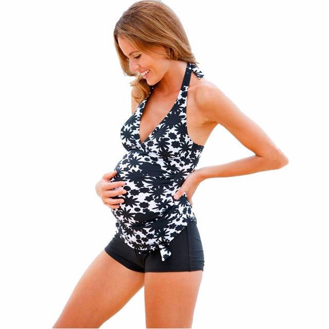 a23c369df55e4 5XL Fashion Pregnancy Women Two-piece Swimsuit Maternity Tankinis Set Plus  Size Swimwear Pregnant Halter Print Bathing Swim Suit
