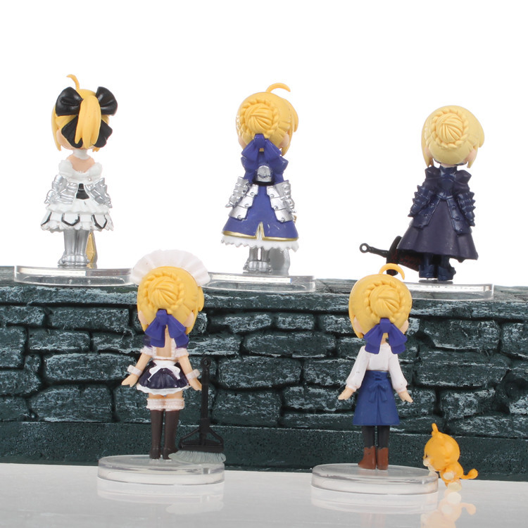 Hot NEW 5.5cm 5pcs/set Q version Fate stay night Saber Unlimited Blade Works Action Figure toys doll Christmas gift no box