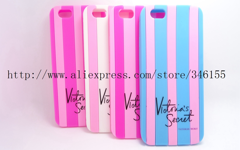 Luxe Victoria/'s Secret PINK Stripe Candy Colorful Soft Rubber Case Apple iphone 6 Victorias Silicone Phone Covers - Shen zhen HW (3C store Digital Accessories Company)
