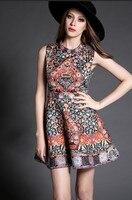 Moda Kadınlar Zarif Vintage Jakarlı Aline Baskı Elmas Bodycon Seksi örgün parti pist tasarımcısı kısa Elbise Vestido Yaz