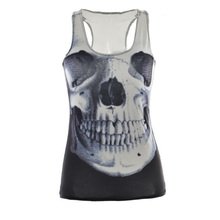 Women Personality Sports Tank Tops Lady Sexy Sleeveless T Shirt Clothes Elastic Yoga Running Vests Camisole Skull Digital Print