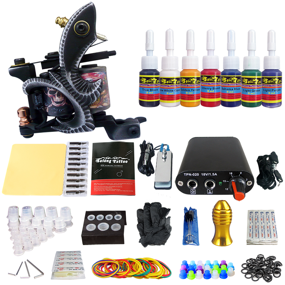 Hybrid Complete Tattoo Coil Machine Kit For Liner Shader Power Supply Foot Pedal Needles Grip Tips Tattoo Body&Art TK105-49 2017 pro complete tattoo machine kit set 2pcs coil tattoo machine gun power supply needles grips tips footswitch for body art