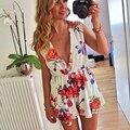 2016 moda Casual Floral impresso shorts beachwear verão geralmente com decote em v macacão e romper Playsuit Frete Grátis