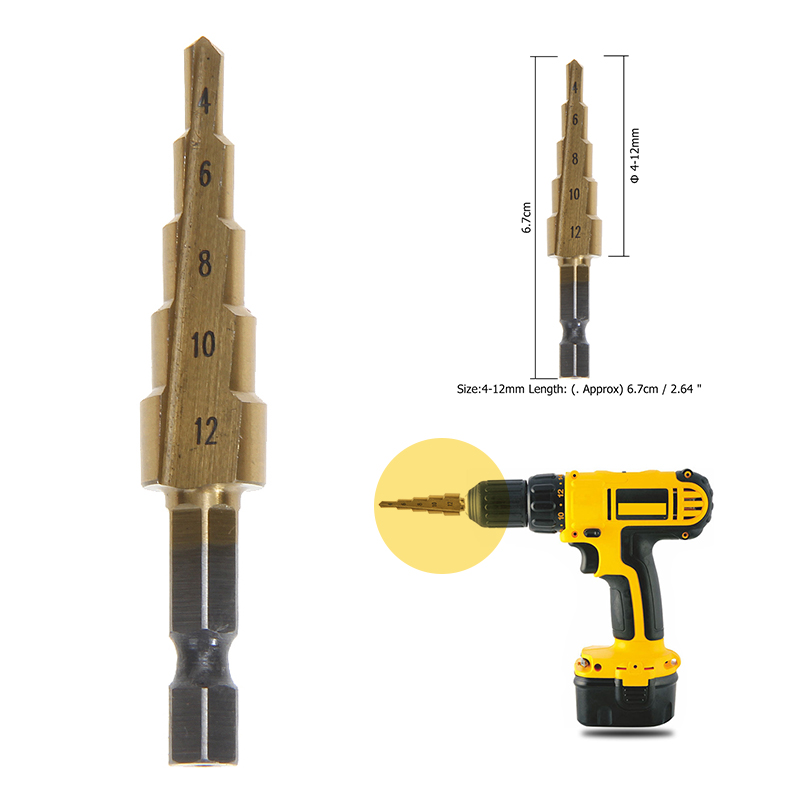 Hole Cutter 4-12mm Cone Step Drill Hole Tools Countersink Drill Bit Power Tools Step Drill Bit Metal Tools For Woodworking
