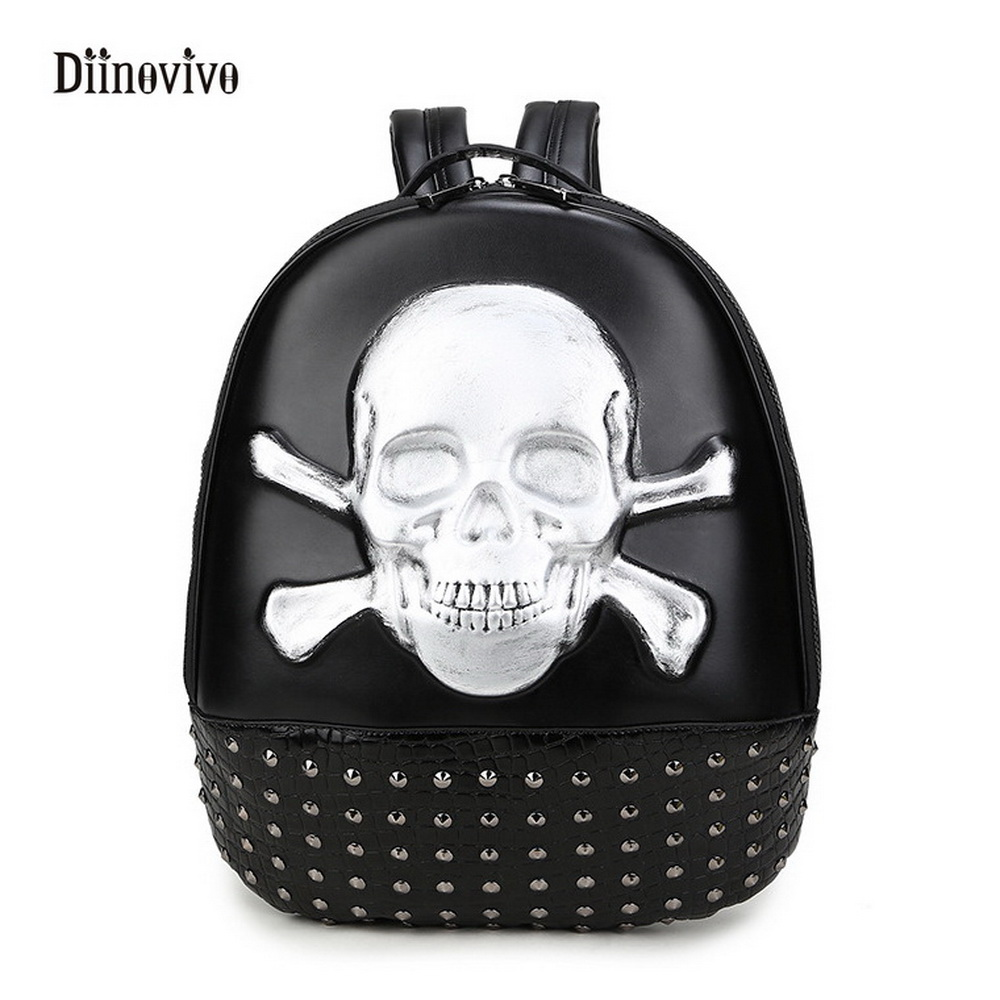 Diinovivo Fashion Round Backpacks Youth Leather Skull Female Travel Bag Rock Style Rivet Women Embossing School Bags Whdv0128