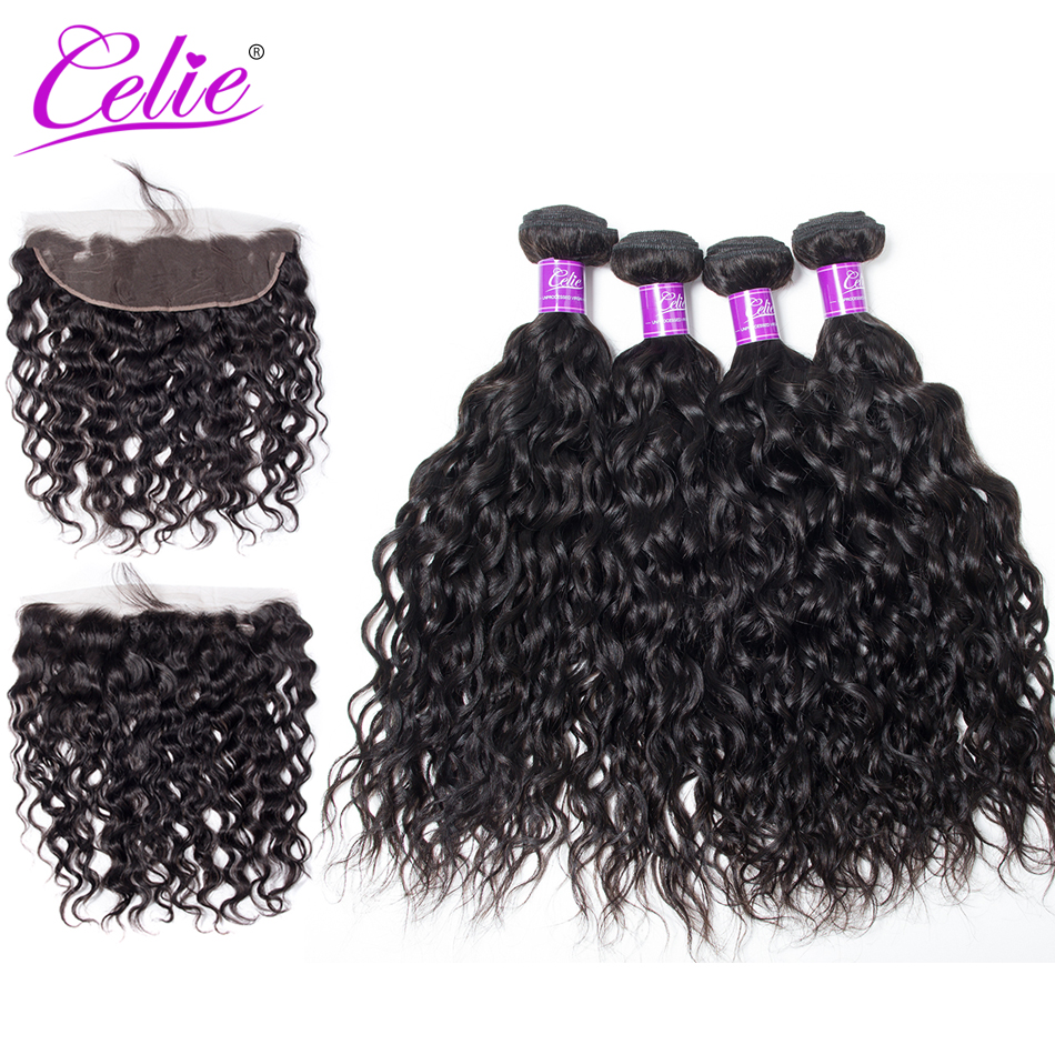 Celie Hair Brazilian Water Wave With Frontal  100% Remy Human Hair 4 Bundles With Frontal Natural Black Color Brazilian Hair
