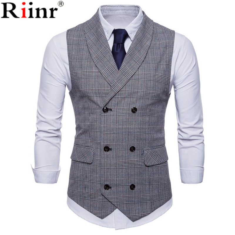 Riinr 2019 Brand Suit Vest Men Jacket Sleeveless Beige Gray Brown Vintage Tweed Vest Fashion Spring Autumn Plus Size Waistcoat(China)
