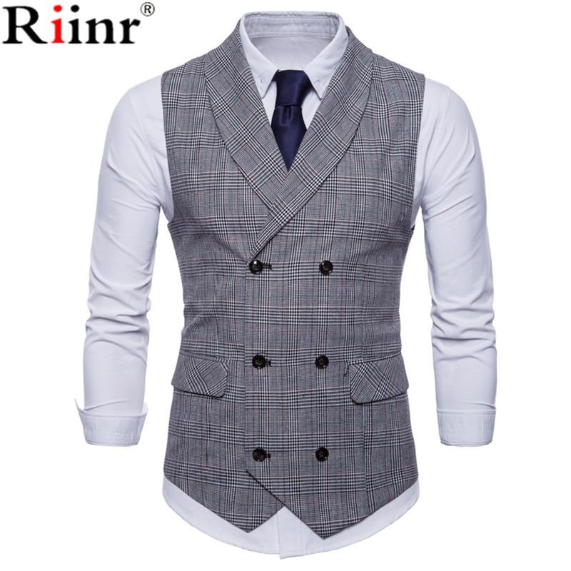 Riinr 2019 Brand Suit Vest Men Jacket Sleeveless Beige Gray Brown Vintage Tweed Vest Fashion Spring Autumn Plus Size Waistcoat 1