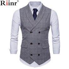 Riinr брендовый костюм жилет мужской пиджак без рукавов бежевый серый коричневый винтажный твидовый жилет Мода весна осень размера плюс жилет