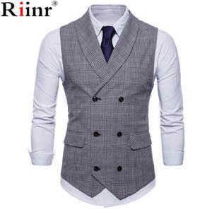 93af7fb038ede Riinr Suit Vest Men Sleeveless Vintage Tweed Waistcoat