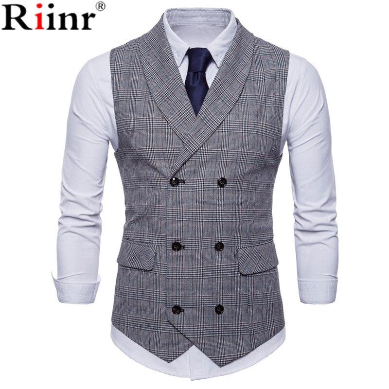 Riinr 2019 traje de marca hombres chaleco chaqueta sin mangas Beige gris marrón de Tweed Vintage Chaleco de moda Primavera otoño Plus tamaño chaleco
