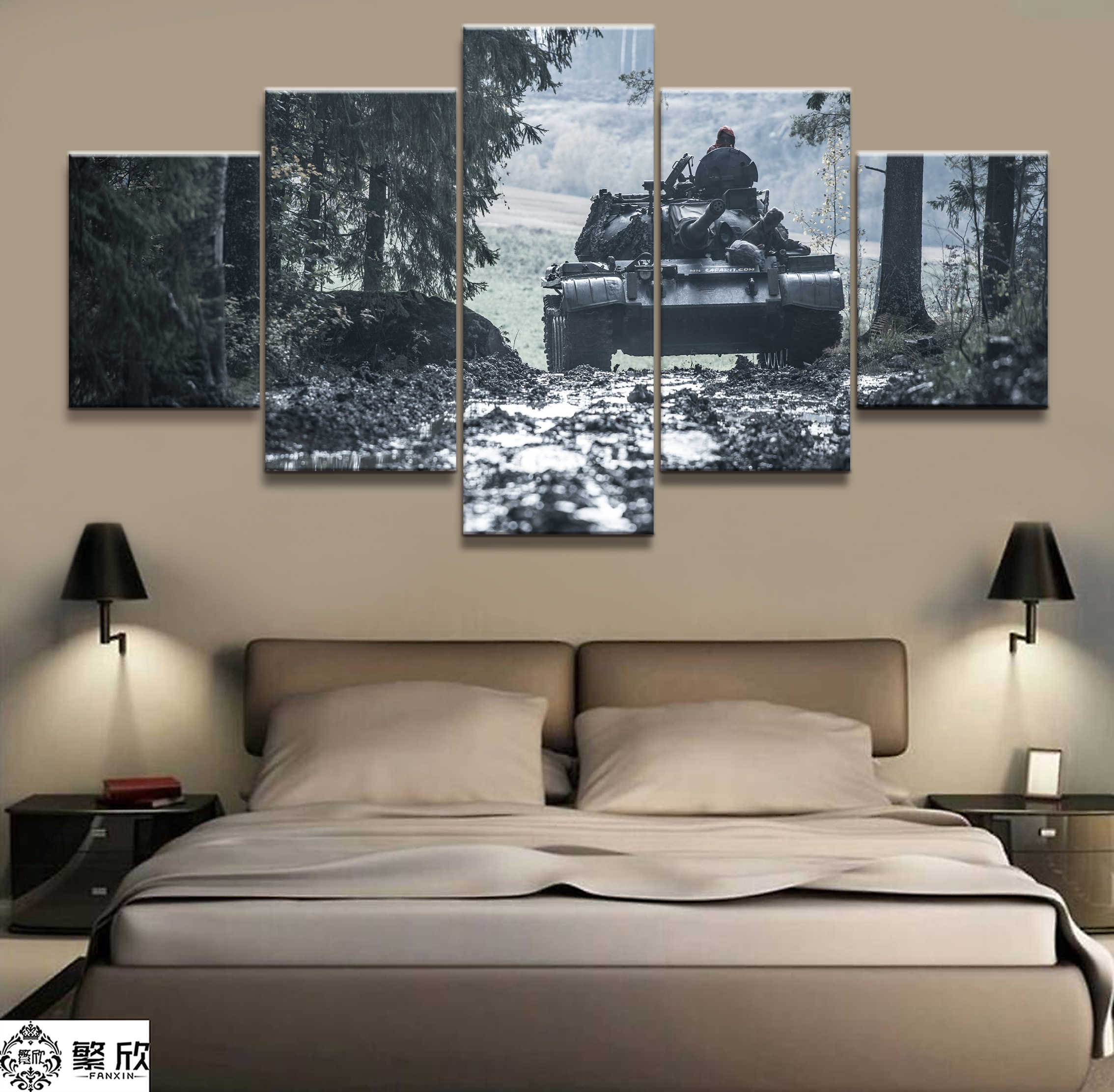 5 Pieces Military War Tank Arms Poster Modern Wall Art Decorative Modular Framework Picture Canvas HD Printed One Set Painting