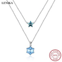 LEKANI Crystals From Swarovski Necklaces For Women Fashion Star Snowflake Necklaces Pendants Real 925 Silver