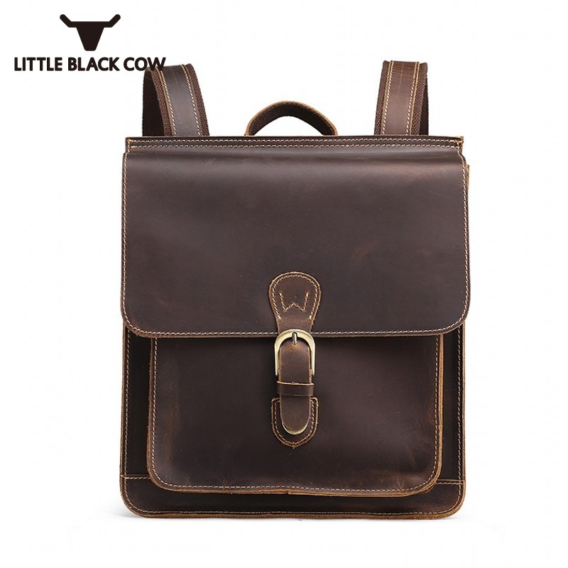 Hot Sale <font><b>Genuine</b></font> <font><b>Leather</b></font> Men Women <font><b>Backpack</b></font> Vintage Travel Cowhide <font><b>Unisex</b></font> School Bag Buckle Covered Man Ladies <font><b>Backpacks</b></font> Outside image