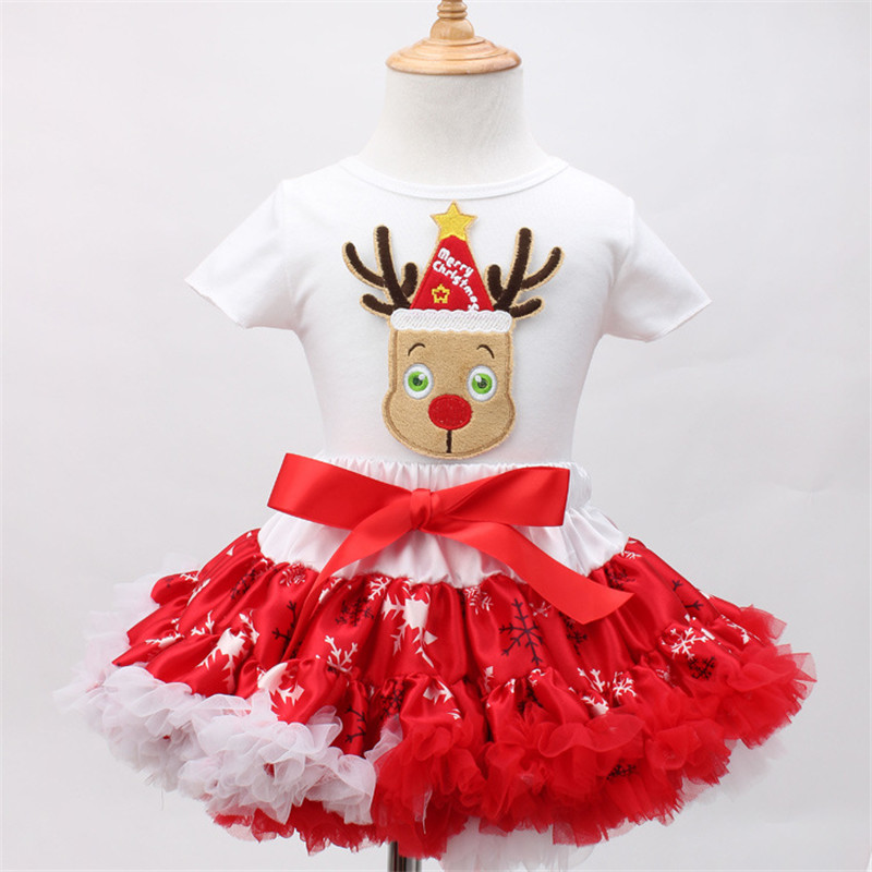 ФОТО Fashion 2016 New Baby Girl Clothing Santa Claus Character Sleeveless Tops Tutu Dress Two-piece Christmas Party Formal Dress