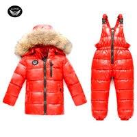 Girl Winter Ski Suit Set 2017 Russia Boys Sport Down Jackets Fashion Children Overalls Set