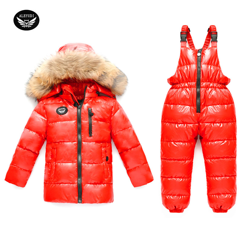 Children's Down Jacket Suit Girl Winter Ski Suit -30 degree Russian Boy Ski Sports Down Jacket Set Kids Winter Suit Thicker