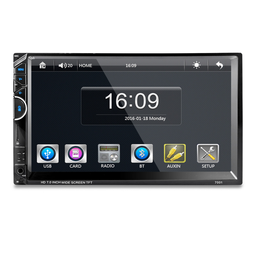 7 дюймов Bluetooth 7001 HD 1080 P Сенсорный экран с AM + RDS музыка кино плеер автомобиля Радио Видео MP5 плеер авторадио FM AUX USB SD