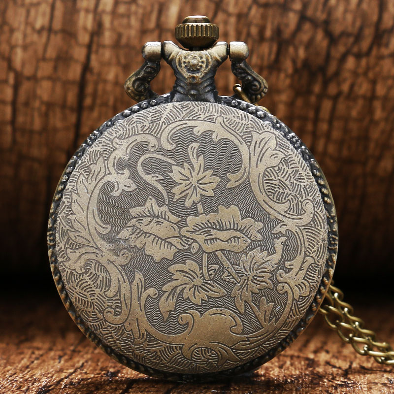 Chinese Zodiac Animals Rabbit Bronze Quartz Pocket Watch Necklace Pendant for Wome and Men Gift