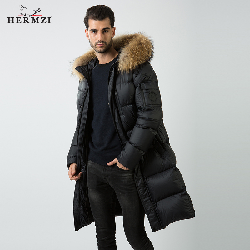 HERMZI 2019 Men Down Coat Winter Mens Long Down Jacket 80 Duck Down High Quality Thick Warm Down Parka Men Real Raccoon Fur 4XL in Down Jackets from Men 39 s Clothing